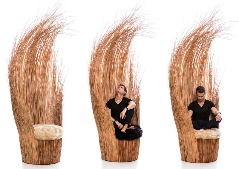 Savanna wicker branches chair by Tiago Curioni
