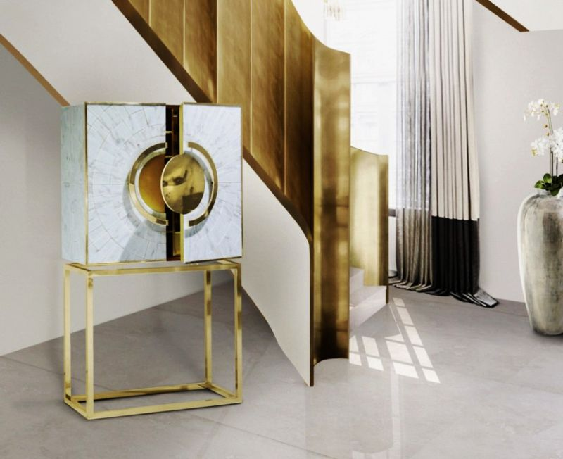 Secret luxury cabinet by Memoir feature gold leaf interiors