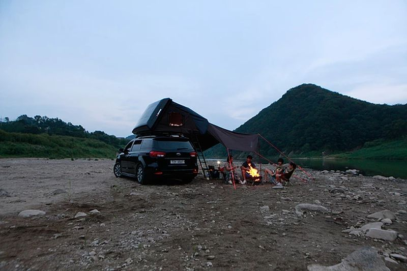 Skycamp rooftop tent by iKamper can be setup in seconds