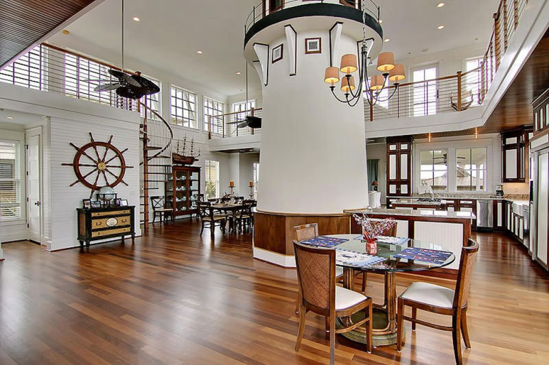 This oceanfront family home features indoor lighthouse