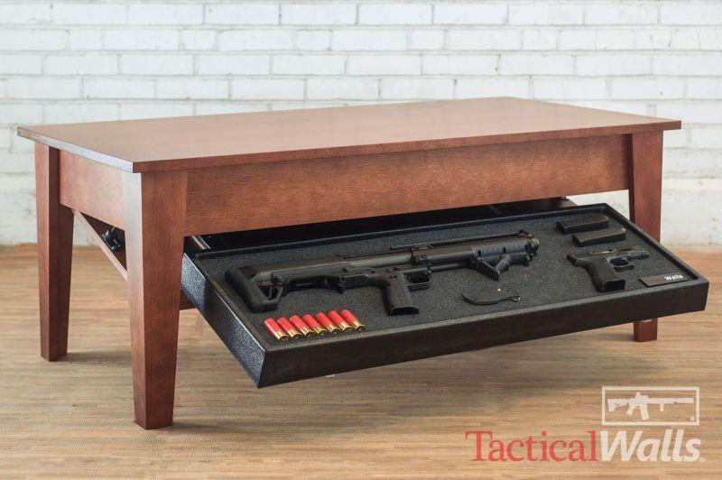 Coffee table that hides a smart safe by TacticalWalls