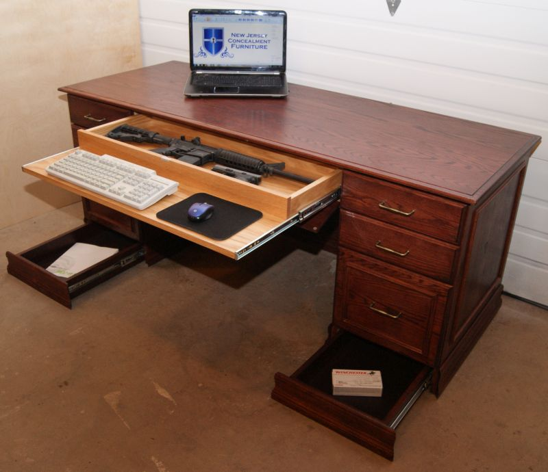 Executive desk offering a gun safe - gun concealment furniture