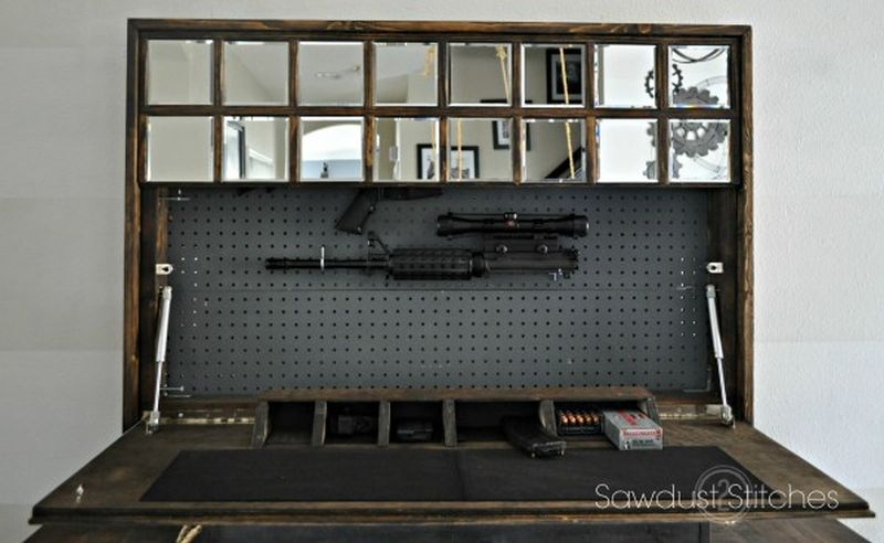 Gun concealment behind a mirror - gun concealment furniture