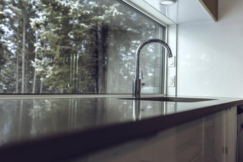 Kitchen alongside a large window