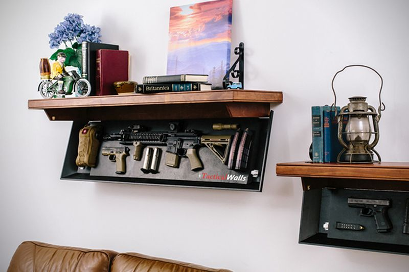 Hide your firearms inside a smart shelve by TacticalWalls