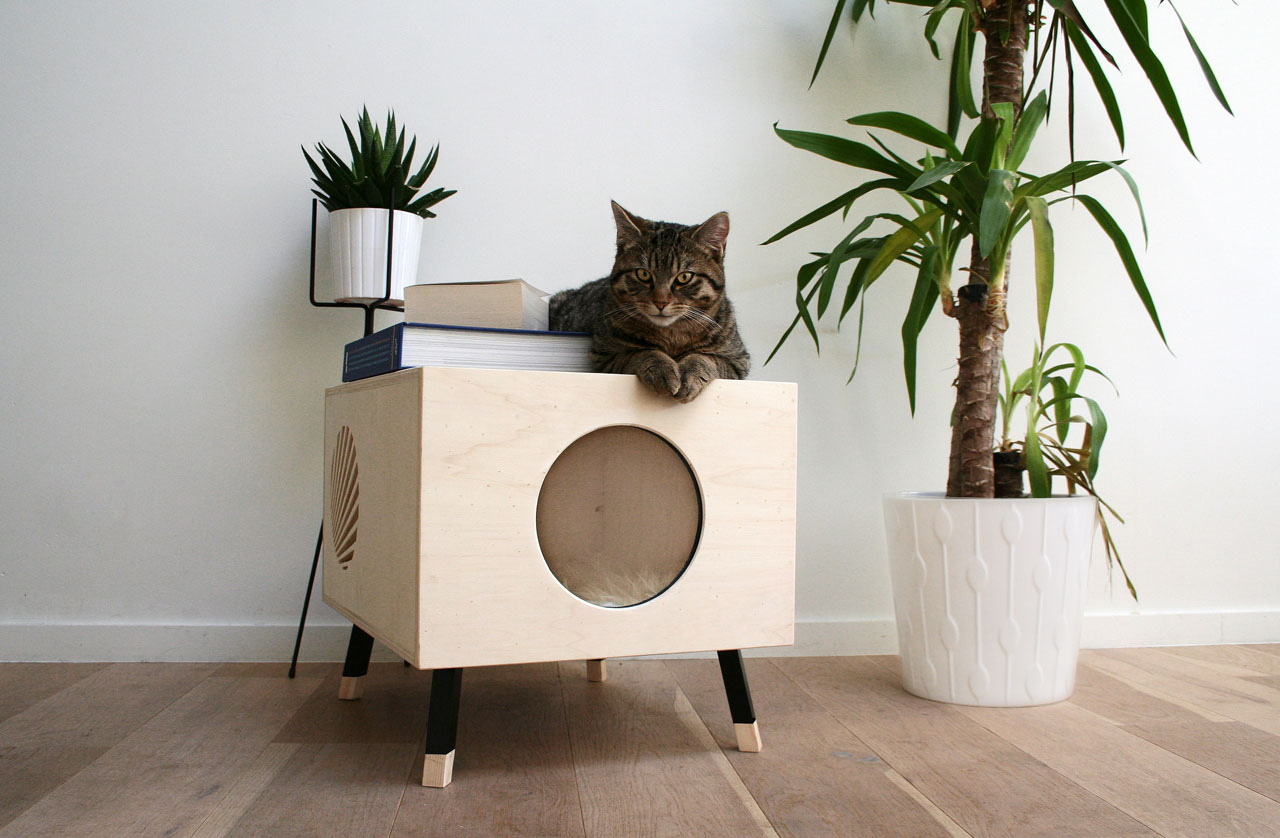 Comfortable Wooden Cat House Doubles As Side Table