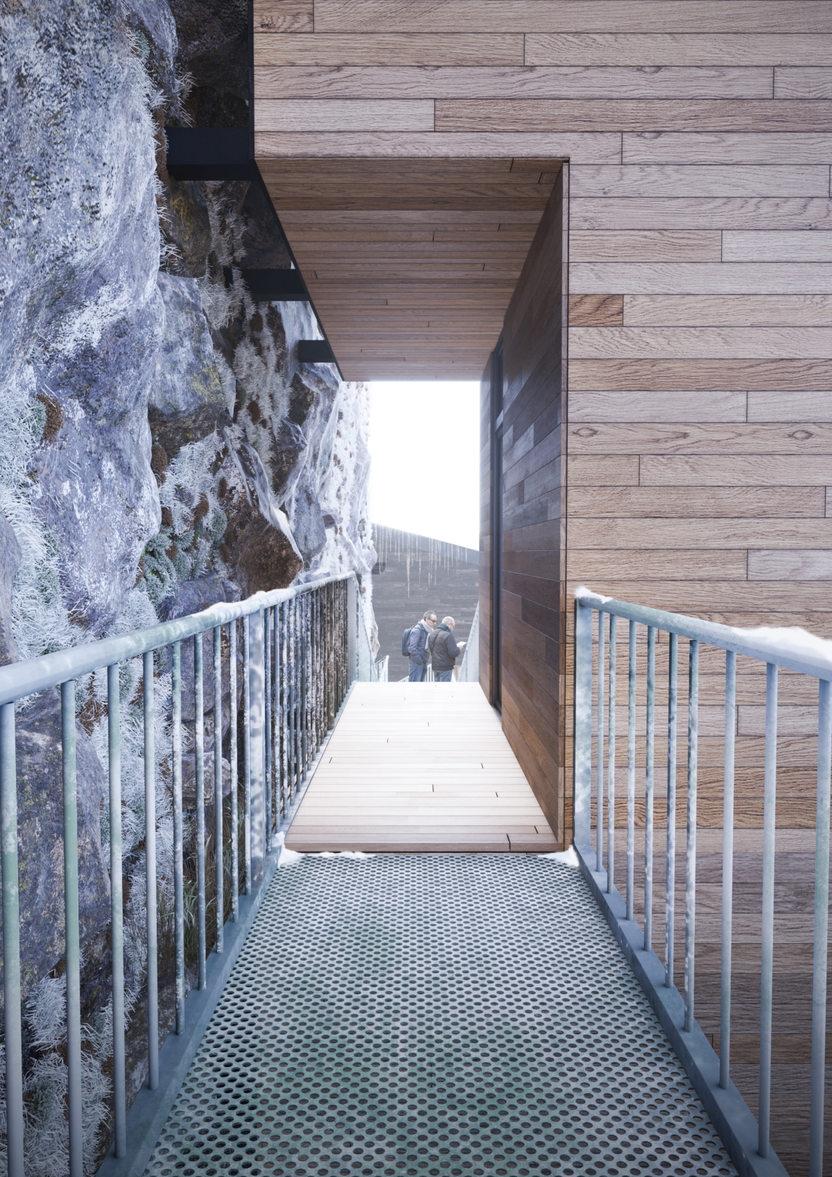 Manofactory designs Nestingbox cliff house to hang over steep cliff walls