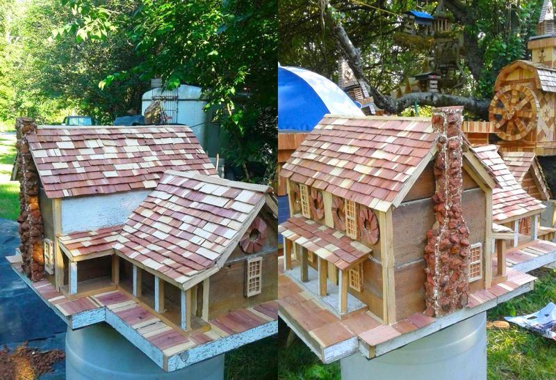 Birdhouse is a replica of 1860's old log