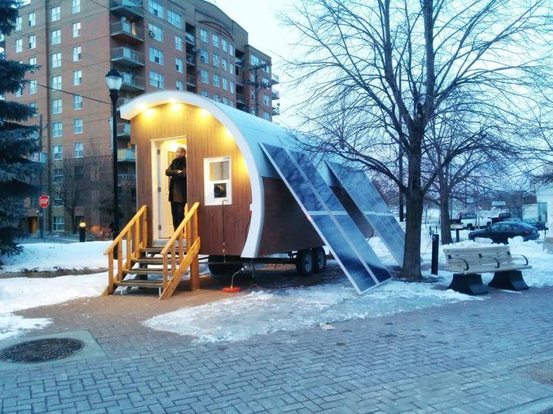 The pod is solar powered and heated via propane