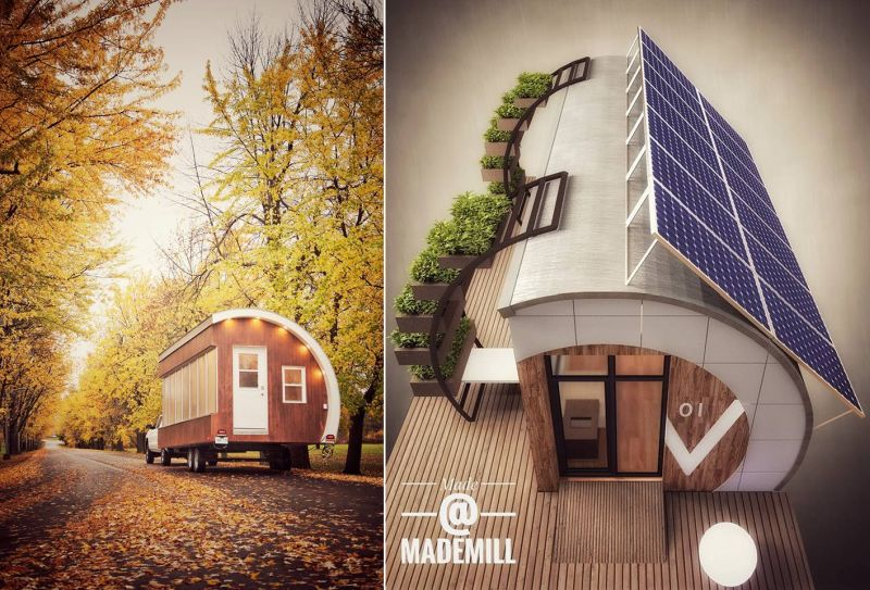 Garden office pod's front and top view