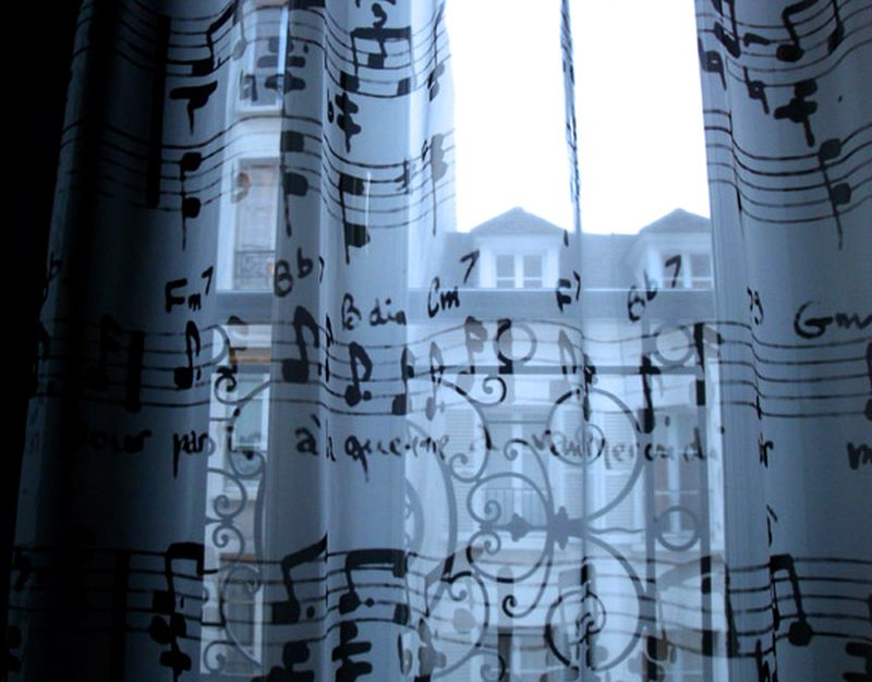 Music notes patterned curtains