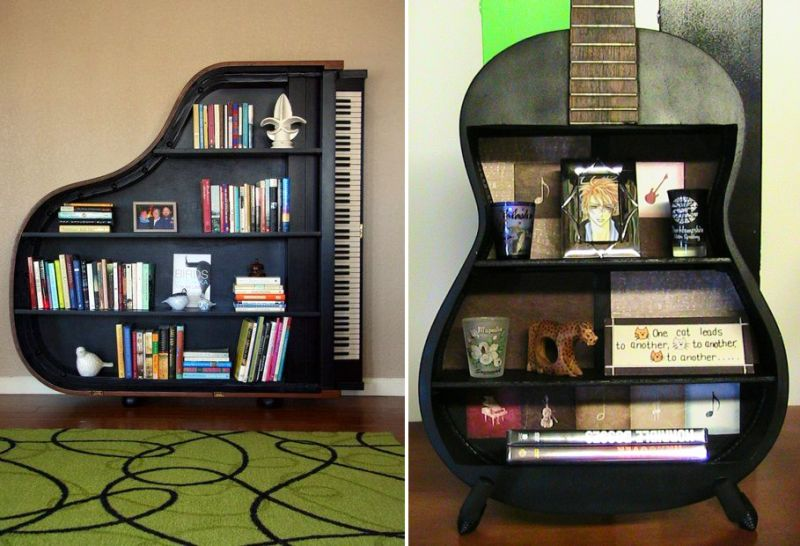 Music-themed wall shelves