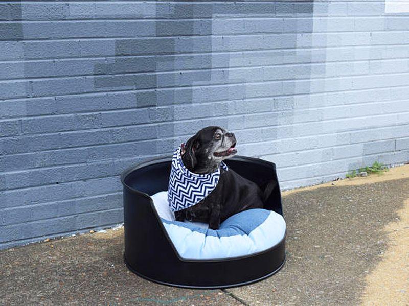 Black colored oil drum dog bed