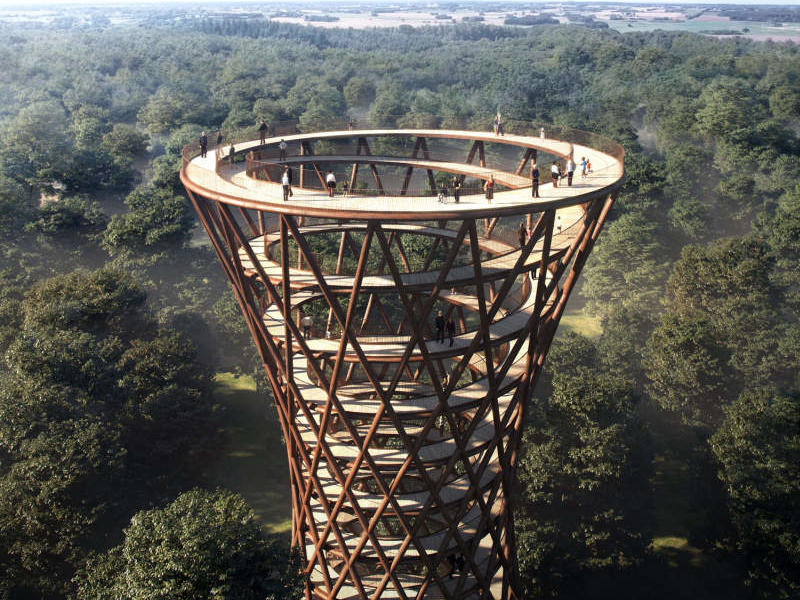 This spiral tower will offer spectacular view of Denmark's Camp Adventure