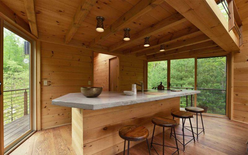Angled-shaped geometric treehouse kitchen