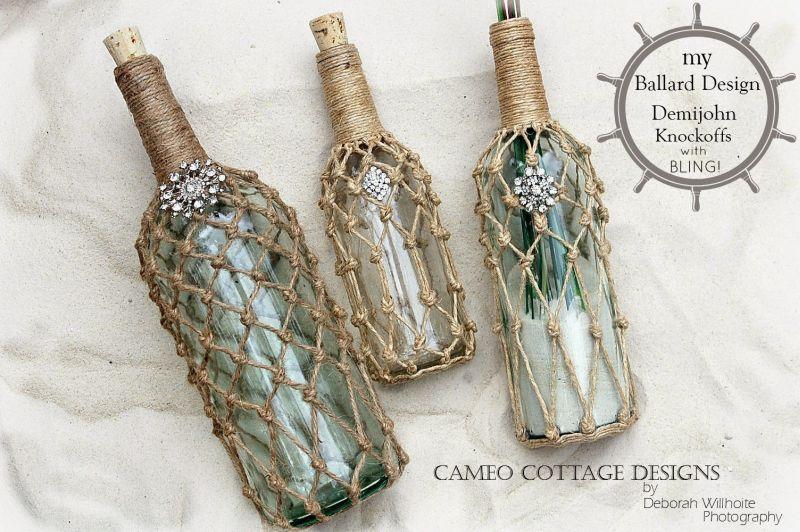 Netted Jute Bottles made of wine bottles - DIY Wine Bottle Crafts