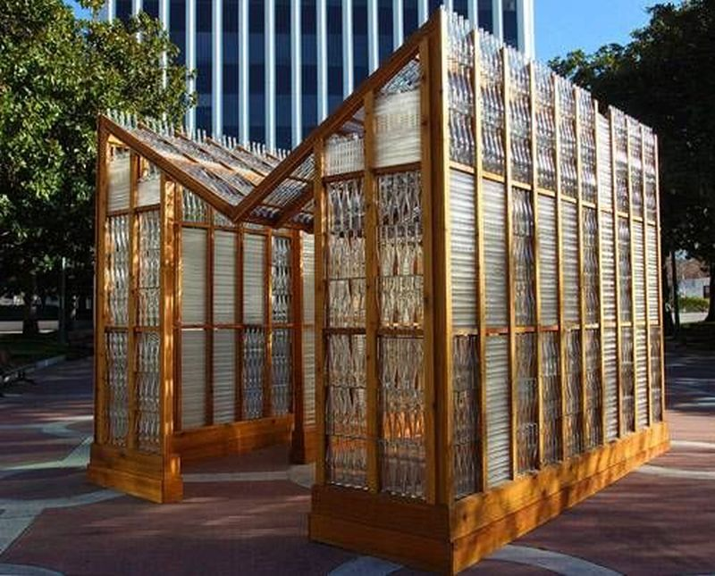 Glass house made of wine bottles