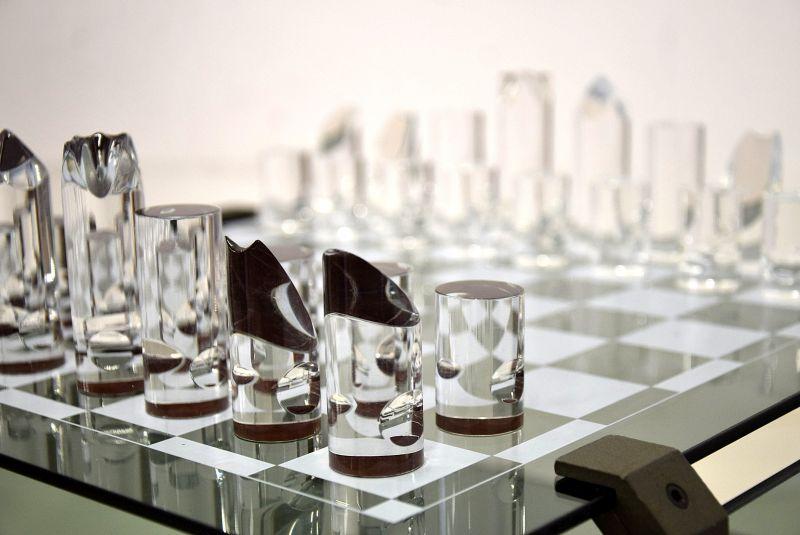 1970s Glass Chess Set