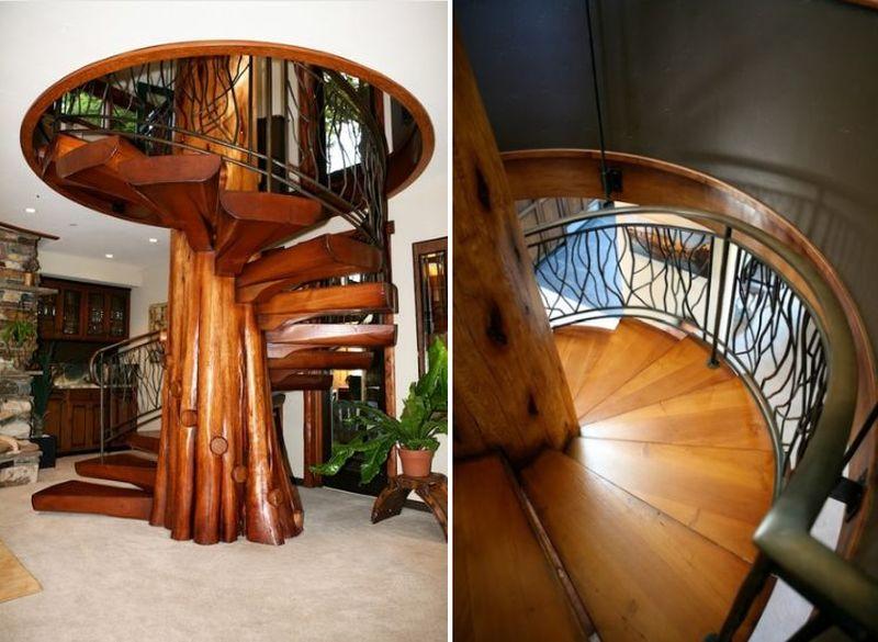 Spiral staircase made from fallen cedar tree