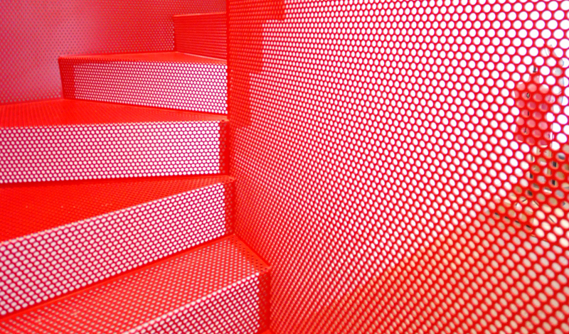 Red steel staircase