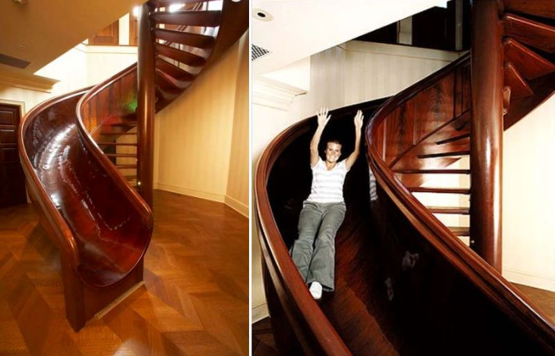 Wooden staircase with a slide