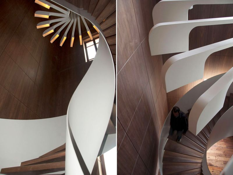 piraling staircase with integrated lighting