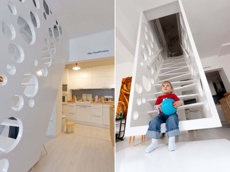 Cheese-inspired staircase