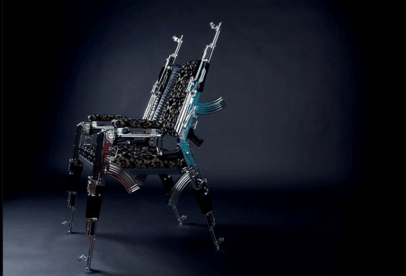 A fully loaded AK-47 chair