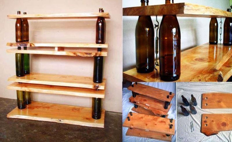 DIY wine bottle shelving