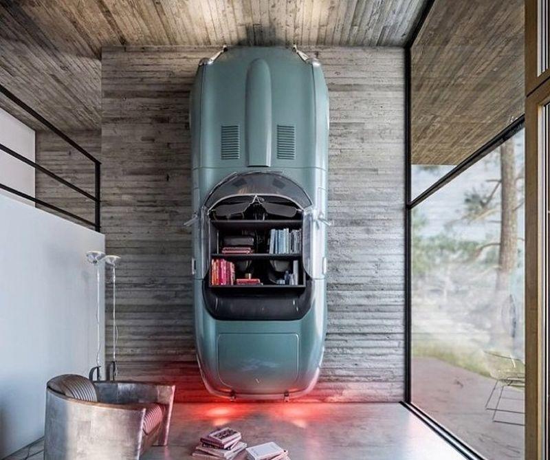 Jaguar car bookshelf