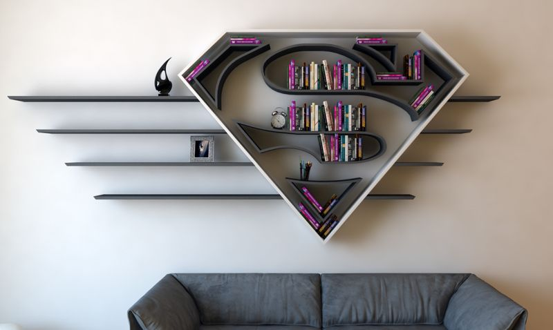 Superhero-themed bookshelf designs