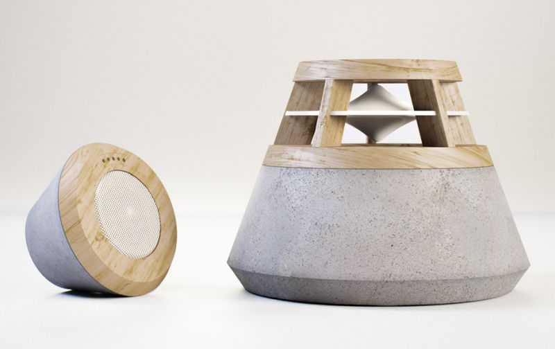 concrete and wooden speaker by HEVI