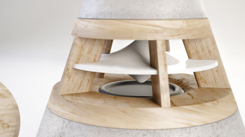 concrete and wooden speaker by HEVI top