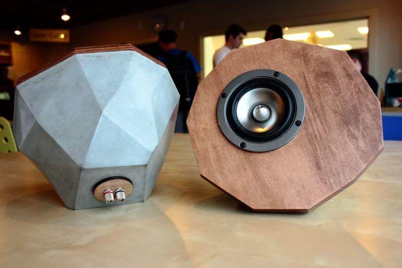 Geometric concrete speaker by The Maker Age