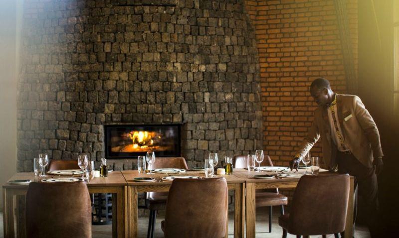 Bisate Lodge volcanic stone made fireplace