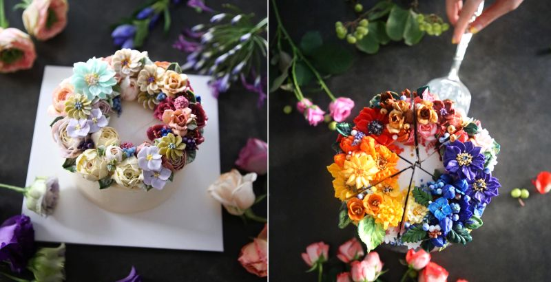 buttercream cakes with incredible floral details