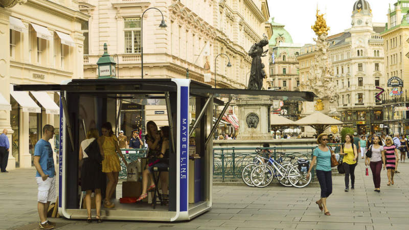 Cubox by HBT is a solar-powered mobile pop-up kiosk