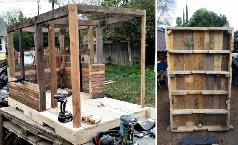 DIY large pallet doghouse can be turned into a kids' playhouse