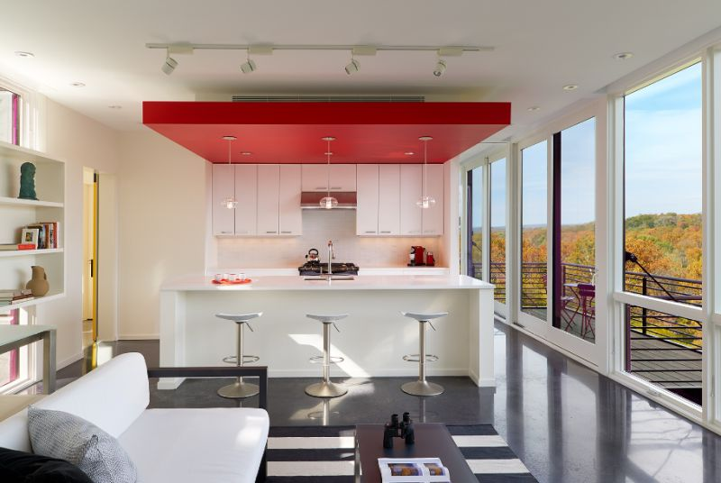 Kitchen and living space of Hawk's nest in West Virginia