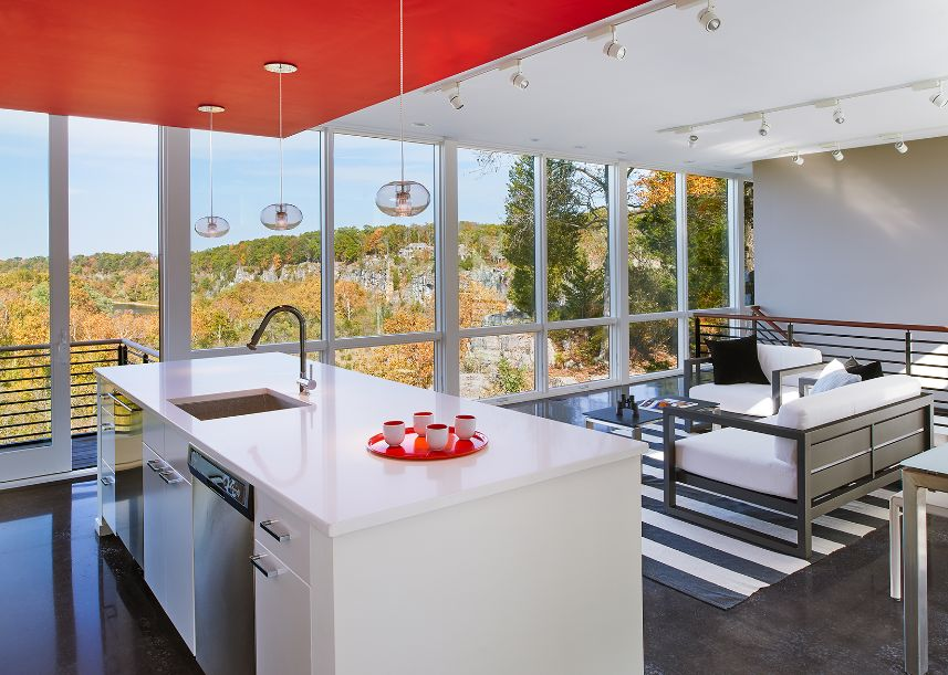Hawk's nest in West Virginia Kitchen and living space