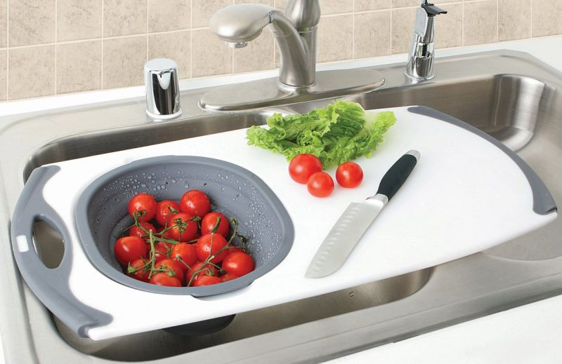 Over the sink strainer with cutting board