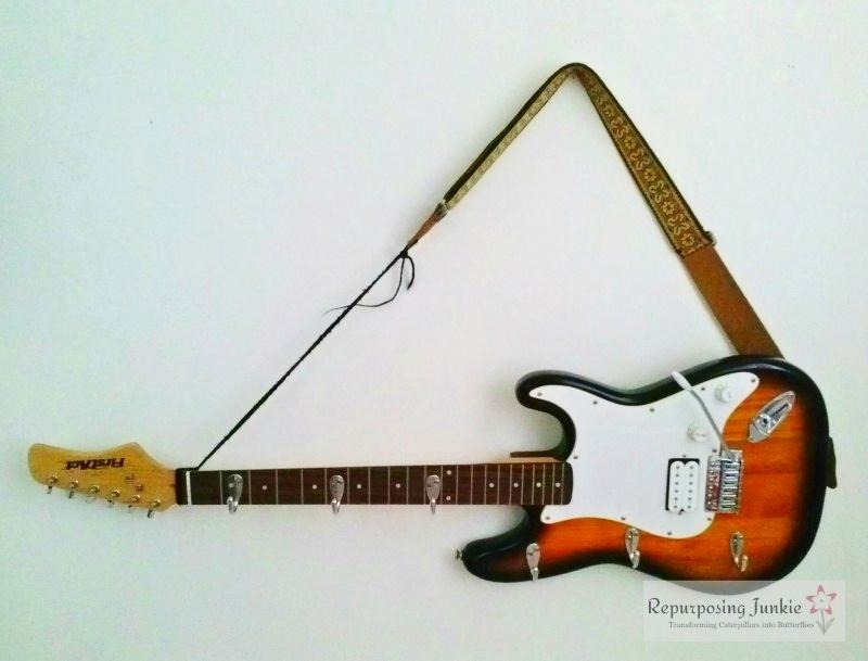 Repurposed-Electric-Guitar-into-Coat-Garment-Hat-Rack-Holde