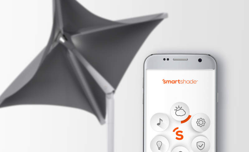 Sunflower smart outdoor shade comes with solar-powered charging dock