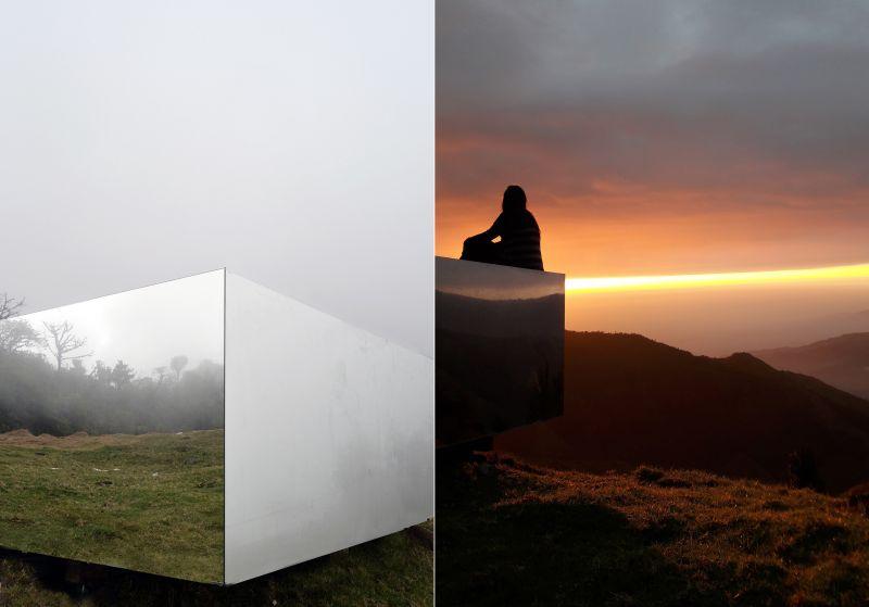 The-Invisible-Portal-mirrored-wooden-platform-by-Natura-Futura-Arquitectura