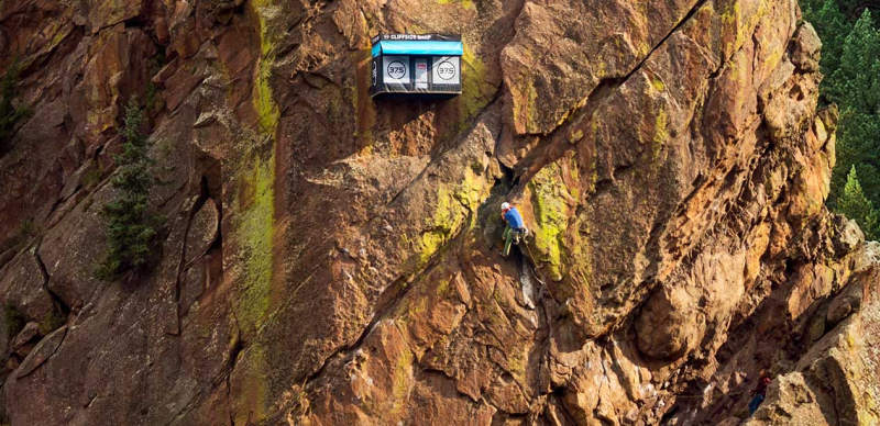 Cliffside shop is the world's remotest pop-up store mounted on Bastille Wall, Colorado