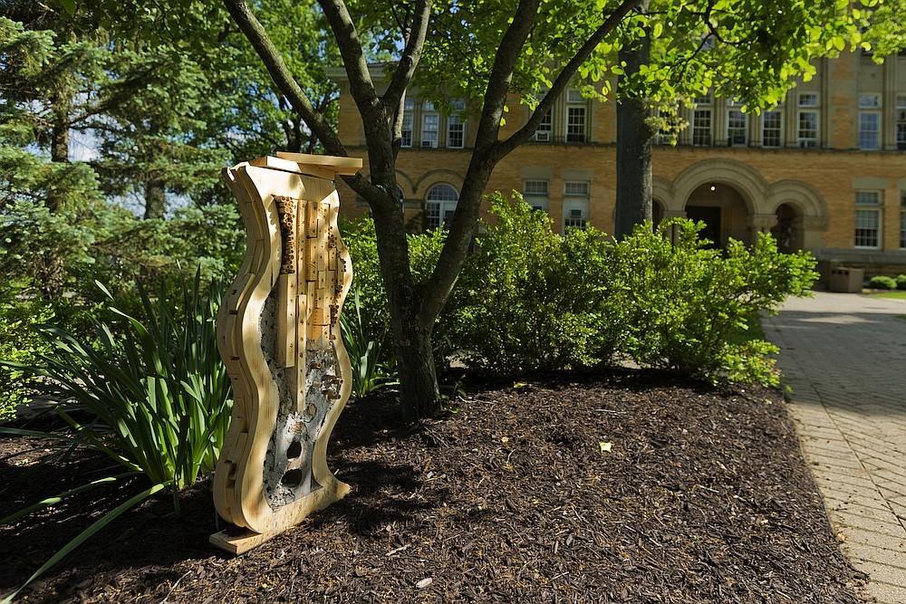 bee hotel sculptures by Denison University