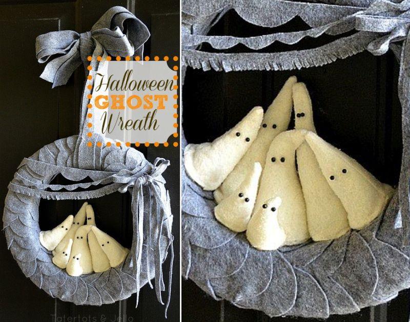 Halloween felt ghost wreath