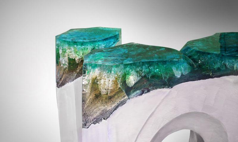 La Falaise Bench & Side Table by Eduard Locota