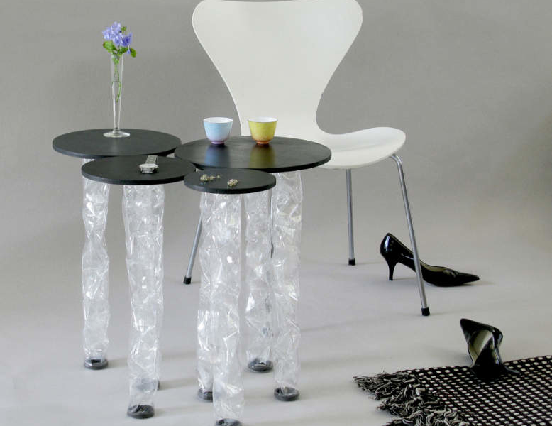 Taeg Nishimoto's im Wald side table with transparent plastic legs