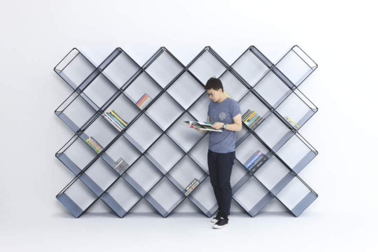 +X modular bookshelf holds your books diagonally